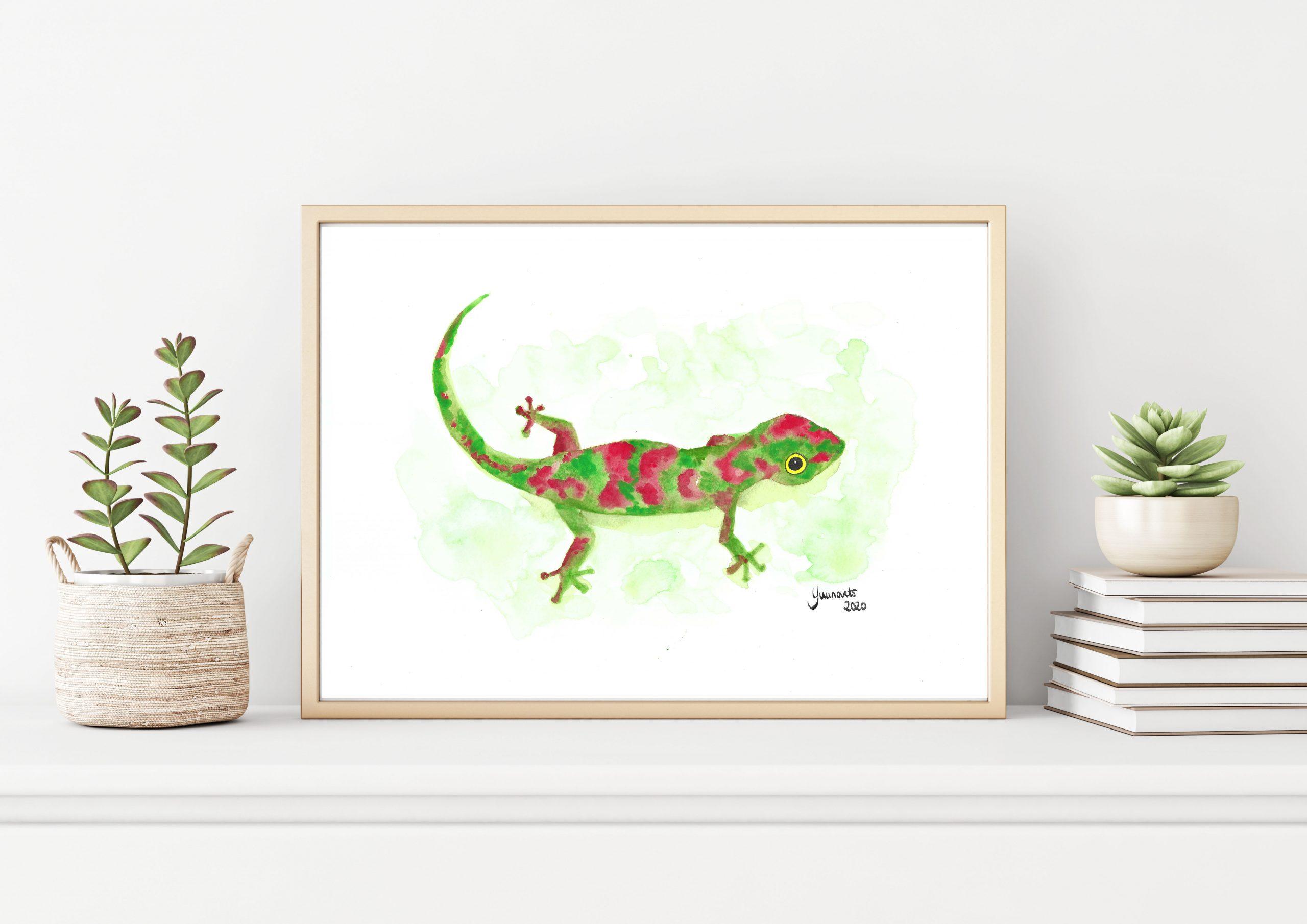 """Aquarelle """"Petit gecko coloré"""""""